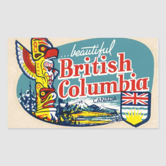 Pegatina hermoso retro de Canadá de la Columbia