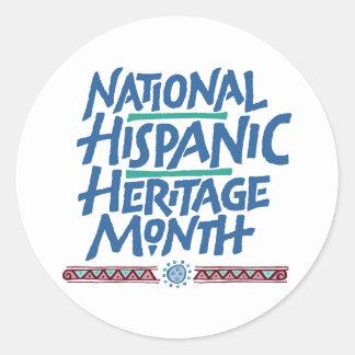 Pegatina hispánico nacional del mes de la herencia pegatina redonda