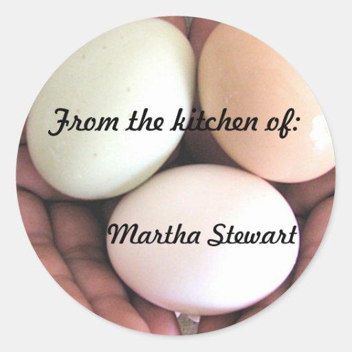 Pegatina, huevos, cocina pegatina redonda