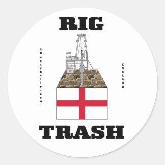 Pegatina inglés de la basura de la plataforma