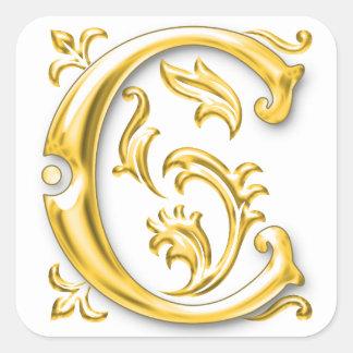 Pegatina inicial de la mayúscula de C en oro