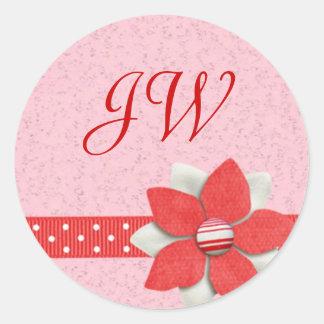 Pegatina inicial personalizado - cinta y flor