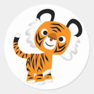 Pegatina inquisitivo lindo del tigre del dibujo