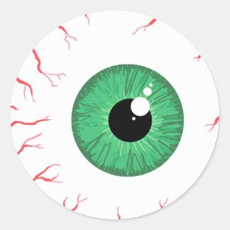 Pegatina inyectado en sangre verde claro del globo