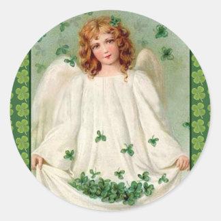 Pegatina irlandés del ángel del vintage