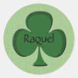 Pegatina irlandés del trébol de Raquel