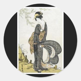 Pegatina japonés antiguo del arte