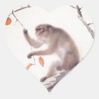 Pegatina japonés del corazón del año del mono de