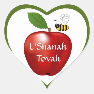 Pegatina judío del corazón del Año Nuevo