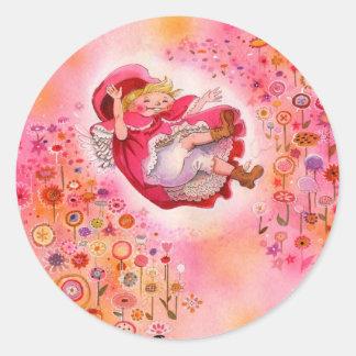 Pegatina Kitschy lindo de la flor feliz simple de