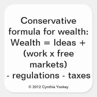 Pegatina: La fórmula conservadora para la riqueza