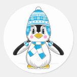 Pegatina lanoso del pingüino del gorra
