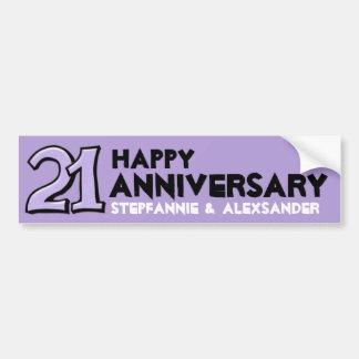 Pegatina largo del número 21 del aniversario tonto pegatina para auto