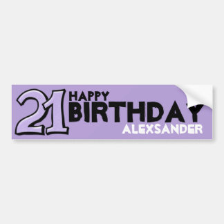 Pegatina largo del número 21 del cumpleaños tonto  pegatina de parachoque