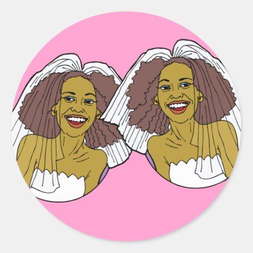 Pegatina lesbiano afroamericano del boda