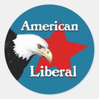 Pegatina liberal americano calvo de Eagle
