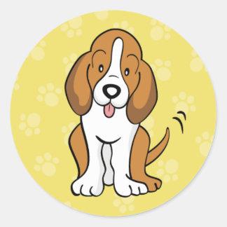 Pegatina lindo de Basset Hound del perro del