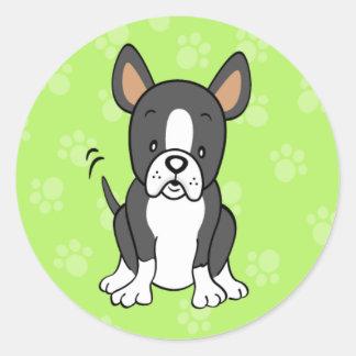 Pegatina lindo de Boston Terrier del dibujo
