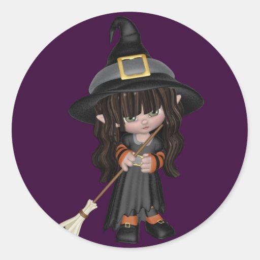 Pegatina lindo de Halloween de la bruja del KRW