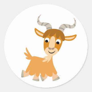 Pegatina lindo de la cabra del dibujo animado que