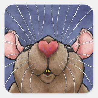 Pegatina lindo de la rata del corazón