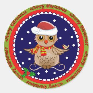 Pegatina lindo de las Felices Navidad con el búho