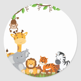 Pegatina lindo del animal del bebé de la selva