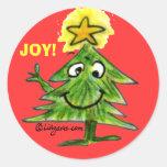 Pegatina lindo del árbol de navidad del dibujo