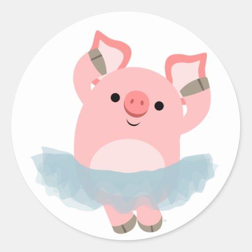 Pegatina lindo del cerdo de la bailarina del