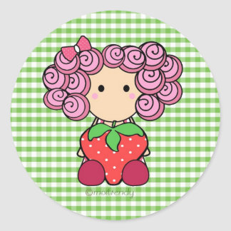 Pegatina lindo del chica de la fresa