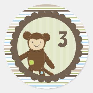 Pegatina lindo del cumpleaños del mono
