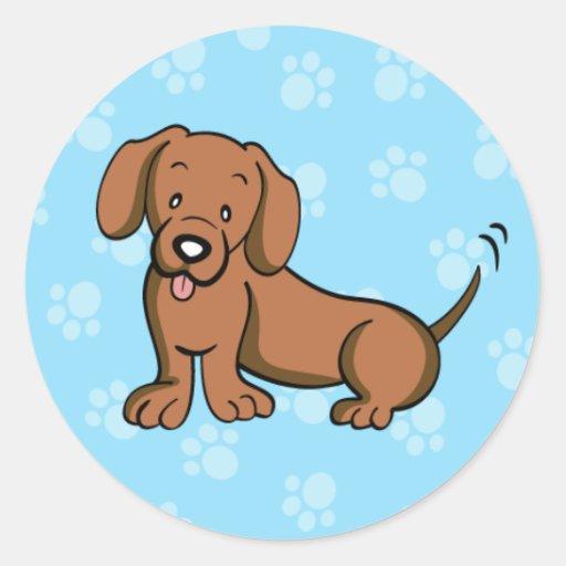 Pegatina lindo del Dachshund del perro del dibujo