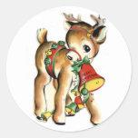 Pegatina lindo del día de fiesta del reno de Lil
