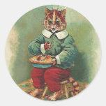 Pegatina lindo del gato del día de fiesta del vint