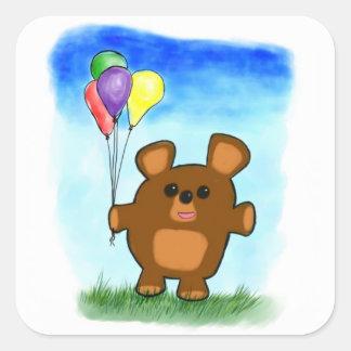 Pegatina lindo del oso del cumpleaños del dibujo a