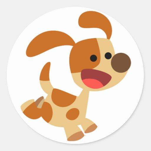 Pegatina lindo del perro del dibujo animado que se