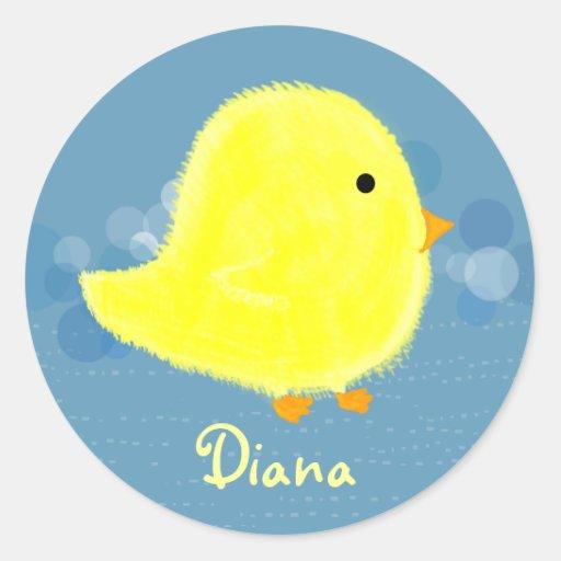 Pegatina lindo del polluelo del bebé de Diana