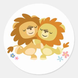 Pegatina lindo del tango de dos leones del dibujo