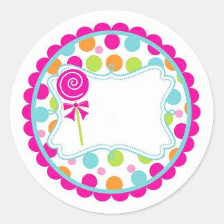 Pegatina/Lollipop y puntos Pegatina Redonda