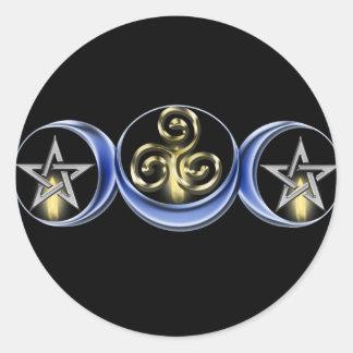 Pegatina lunar espiral triple de la luna