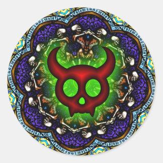 Pegatina macabro de la danza del diablo de cuernos