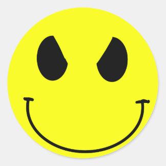 Pegatina malvado del smiley de la cara