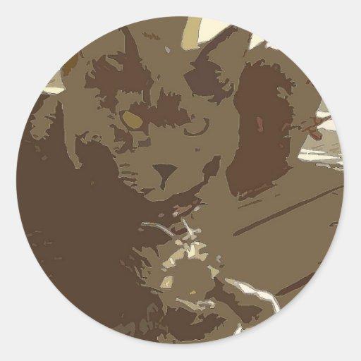pegatina marrón del gato