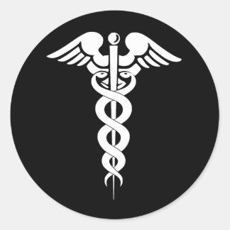 Pegatina médico del símbolo del caduceo blanco y
