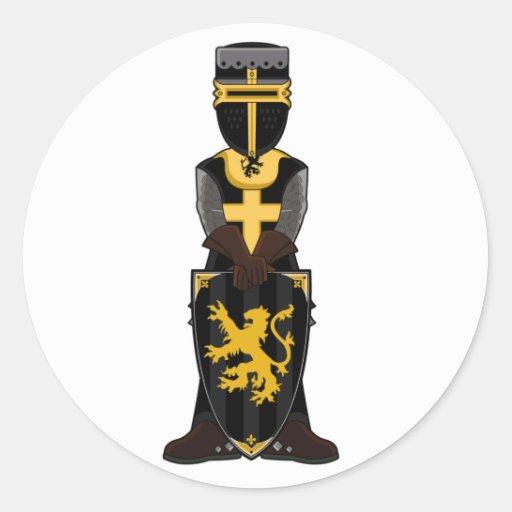 Pegatina medieval del caballero negro