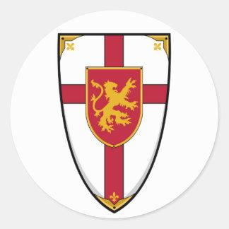 Pegatina medieval del escudo de los caballeros