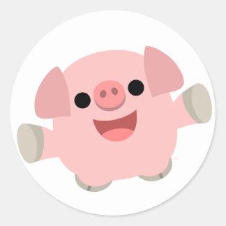 Pegatina mimoso del cerdo del dibujo animado