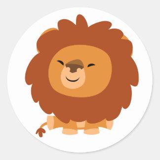 Pegatina mimoso lindo del león del dibujo animado