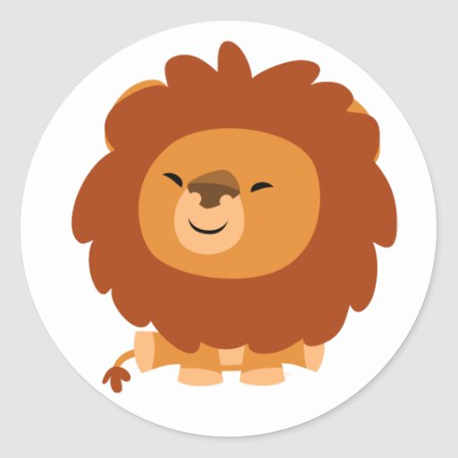 Pegatina mimoso lindo del león del dibujo animado | Zazzle