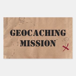 Pegatina: Misión de Geocaching, en un mapa viejo Pegatina Rectangular